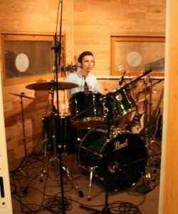 Bertrand at the drums